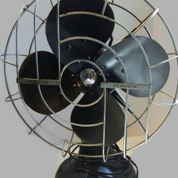 Vintage Hunter Zephair Fan C-12 Oscillating Desk Fan with Felt Bottom