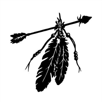 12.7*12.2CM Fashion American Native Arrow Feathers Car Sticker Cartoon Motorcycle Vinyl Decals Black/Silver C7-1613