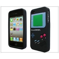 Nintendo Game Boy Gameboy Silicone Case Apple iPhone 4 4G 4S - Black