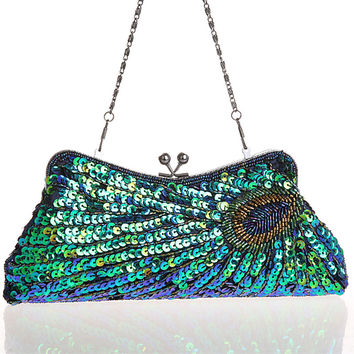 New Fashion Women's Handbags. Peacock Feather Pattern Sequins Beaded Bridal Clutch Purse. Chain Evening Bag Shoulder Messenger