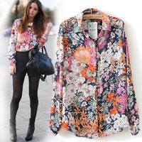 Floral Print Shirt Collar Long Sleeve Chiffon Blouse