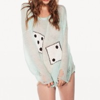 New Fashion Spring and Summer High-end Loose Knit Sweater Dice Box