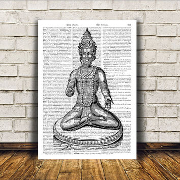 Vishnu poster Hindu art Wall decor New Age print RTA210