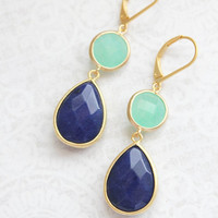 Long Dangle Earrings Navy Blue and Mint Glass Jewel Dark Blue Teardrop Aqua Jewel Everyday Earrings Womens Jewelry Leverback Nickel Free