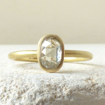 Rose Cut Diamond Engagement Ring  - 18k Yellow Gold with Clear Pale Dove Grey Diamond (0.6 cts).  Size 5 3/4 (L 1/4)
