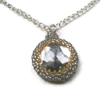 Beaded Bezel Necklace