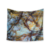 """KESS Original """"Opalized Marble"""" Blue Brown Wall Tapestry"""