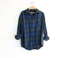 Vintage Plaid Flannel / green and blue Grunge Shirt / Boyfriend Button Up Shirt