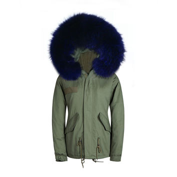 Raccoon Fur Collar Parka Jacket Deep Purple