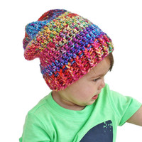 Couture Multicolor Tie Dye Inspired Skater Crochet Slouch Baby Beanie 9-18 Months