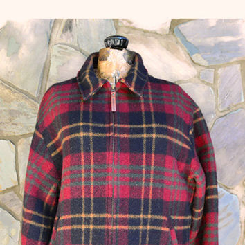 Vintage Wool  Jacket, Plaid WOOLRICH Heavy Coat,  Men's Large Fully Lined Coat, Winter Barn Jacket, Heavy Winter Coat