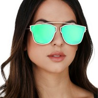 Green Flat Lens Sunglasses