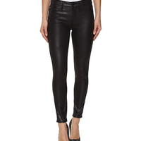 7 For All Mankind The Knee Seam Ankle Skinny in Black Metal Snake