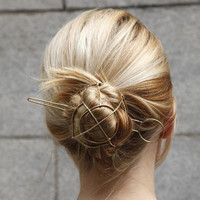 Unique ! Punk Gold Tone Geometric Hair Sticks Vintage Bun Cage Hair Jewelry Bijoux Wedding Hair Accessories Chic Hair Jewelry