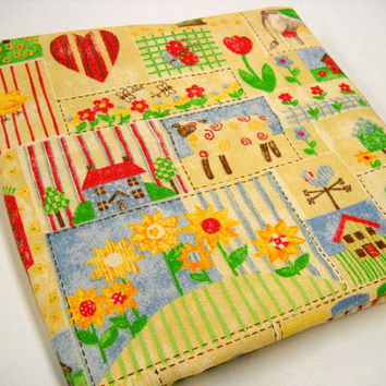 Yellow Print Fabric, Vintage Yardage, Sewing Supplies, Farm Animals