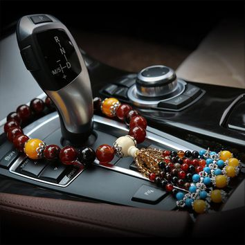 Chinese Style Agate Car Stalls Gears Decoration Ornaments Auto Internal Lucky Safety Symbol Rearview Mirror Hanging Pendant