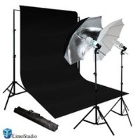 Limostudio New Photo Photography Video Studio Umbrella Continuous Lighting Light Kit Set- Lighting Stand, 10' X 10' Black Double Muslin, Carrying Case, AGG716