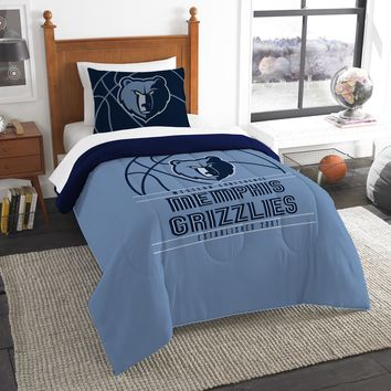 """Grizzlies OFFICIAL National Basketball Association, Bedding, """"Reverse Slam"""" Printed Twin Comforter (64""""x 86"""") & 1 Sham (24""""x 30"""") Set  by The Northwest Company"""