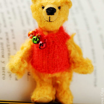 Winnie the Pooh - Collectible Teddy Bear by Farberova Olga- 3.1 inch - OOAK toy - Miniature Animal - Kids Toys