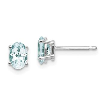 14k White Gold 6x4 Oval March Aquamarine Post Earrings