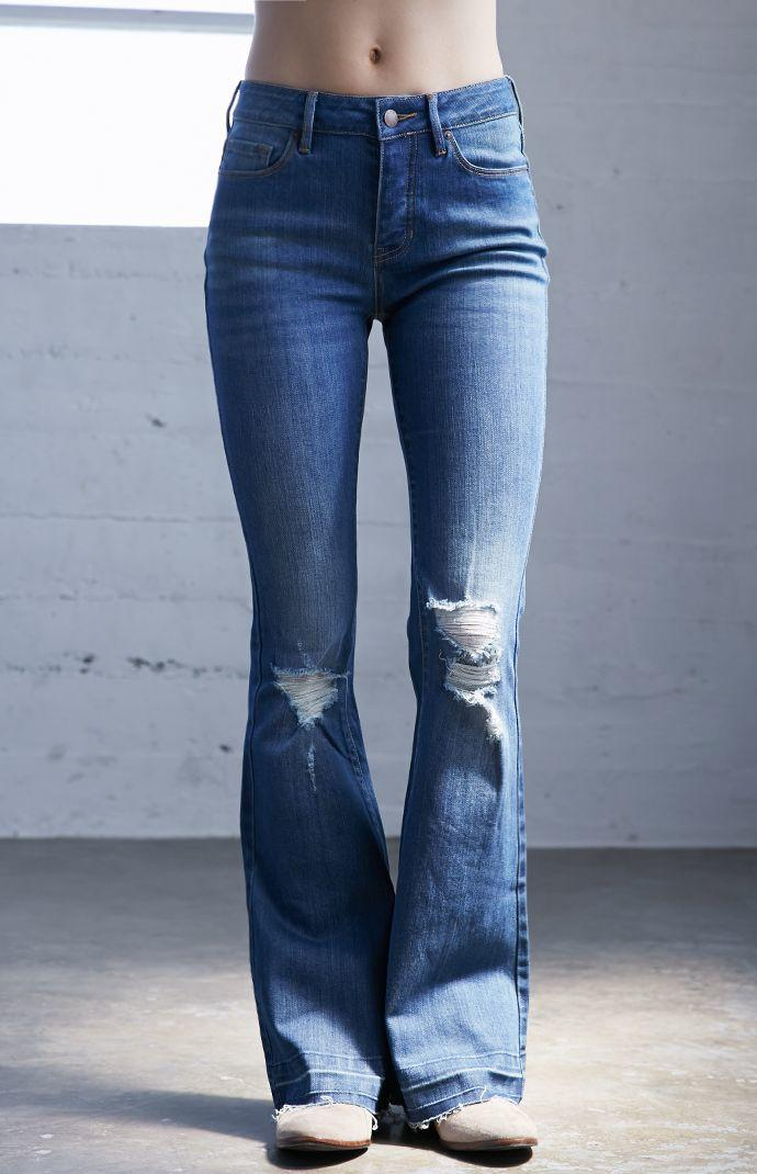 Erin Wasson Horse Blue Ripped Flare Jeans from PacSun | everyday