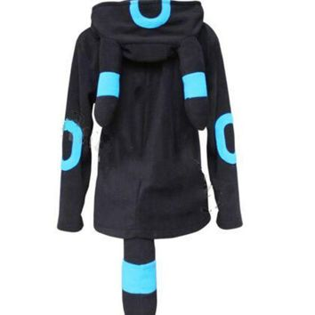 PEAPUNT Anime Pokemon Shiny Umbreon Women Men Zip Hoodie with Ears Tails Cosplay Costume Hoody Jacket Coat Outwear Hooded Sweatshirt