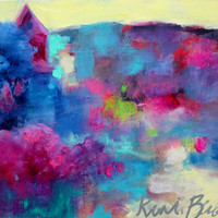 """Small Colorful Abstract Landscape, Original Acrylic Painting, Affordable Artwork, """"The Colors of Home"""""""