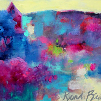 "Small Colorful Abstract Landscape, Original Acrylic Painting, Affordable Artwork, ""The Colors of Home"""