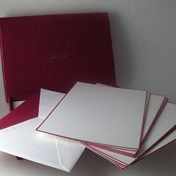 Vintage Cartier Stationery Wedding Supply Set of 10 Note Cards and 10 Envelopes with O