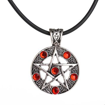 supernatural Pentagram Pendant Necklace Wicca Pagan Gothic Pentagram Pentacle Star Crystal Pendant Five Pointed Star For Men