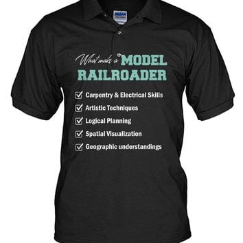 What make a model railroader shirt Men's Polo