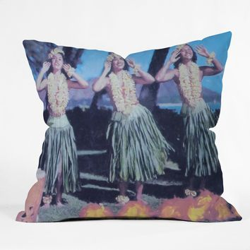 Deb Haugen Hula Blue Throw Pillow