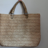 Large Satchel Bag Tote/Ladies Hand-woven Shopping Beach Basket Fully Lined Straw Bag