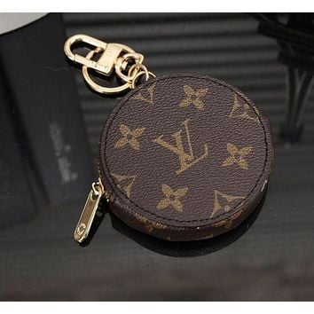LMFIH3 LV Louis Vuitton Stylish Round Leather Key Pouch Wallet Coin Purse I