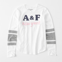 girls sporty logo graphic tee | girls tops | Abercrombie.com