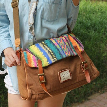 Handmade Leather Canvas handbag Canvas handbag Student Canvas handbag Leisure Packsack canvas Single shoulder bag