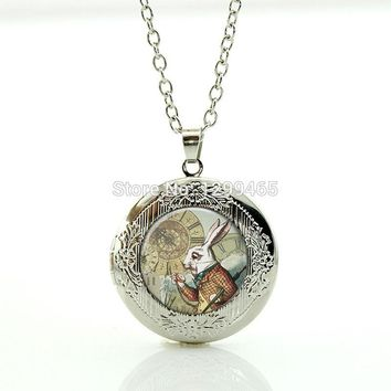 Alice In Wonderland Necklace Glass gem White Rabbit Locket pendant for boys girls Wearable with silver Chain necklace WNK191