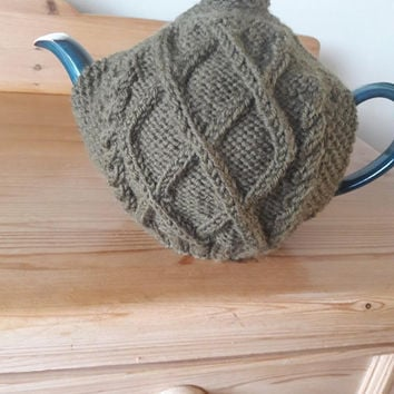 Knitted Wool Tea Cosy, Ivy Green Aran Pattern Tea Cozy, Irish Hand Knit, Teapot Cosy Fits 6 to 8 cup Teapot, Housewarming Gift