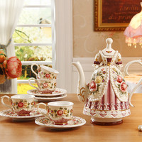 English-style rustic coffee cup set wedding gifts tea set coffee fashion afternoon tea teapot ceramic cups gorgeous dressing
