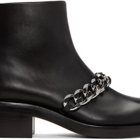 Black Leather Chain Boots