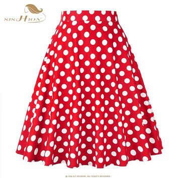 SISHION 2017 Blue Red Black Women Skirts Polka Dot High Waist Vintage Skirt Skater Midi Skirt faldas mujer Plus Size 177S2