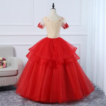 Floor-Length Applique Sequined O- Neck Three Tiered Ball Gown