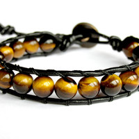 Tiger Eye Bracelet, Unisex Leather Wrap Bracelet, Gemstone Bracelet, Beaded Bracelet, Gift for Him, Handmade Bracelet, Gemstone Bracelet