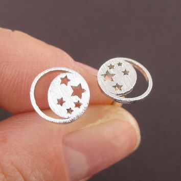 Celestial Crescent Moon and Stars Cut Out Shaped Stud Earrings in Silver