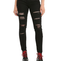Blackheart Destructed Fishnet Skinny Jeans