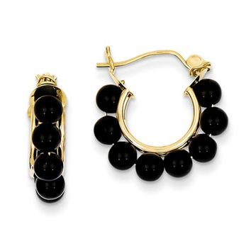 14K Yellow Gold Round Onyx Beaded Hoop Earrings
