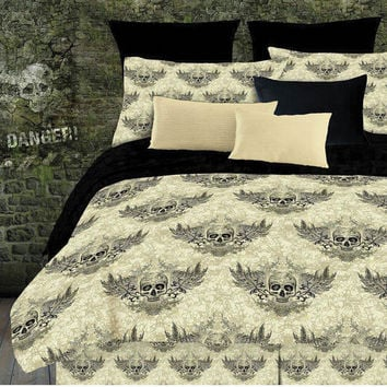 Veratex Home Indoor Bedroom Winged Skull Comforter Set Full Khaki/Black