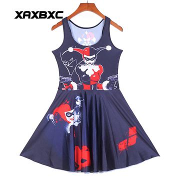 NEW 1260 Sexy Girl Women Summer Batman Joker Harley Quinn Poker 3D Prints Reversible Sleeveless Skater Pleated Dress Plus Size