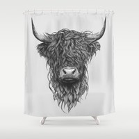 Highland Cattle Shower Curtain by Thea Nordal