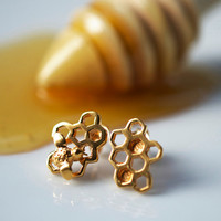 Gold Honeycomb Earrings (Studs Mismatched).Add a matching necklace and a personal message to the presentation message card.